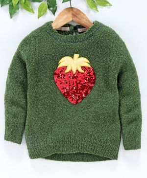 Yellow Apple Winter Wear Full Sleeves Sweater Strawberry Sequin Design - Green