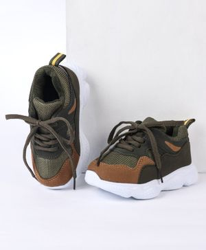 Cute Walk by Babyhug Sports Shoes - Olive Green
