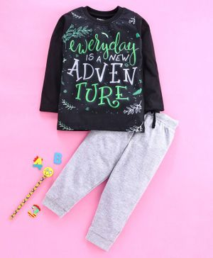 Eteenz Full Sleeves Tee And Lounge Pant Bugs Bunny Print - Black Grey