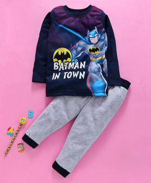 Eteenz Full Sleeves Tee And Lounge Pant Batman Print - Blue Grey Purple