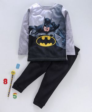 Eteenz Full Sleeves Tee And Lounge Pant Batman Print - Grey Black