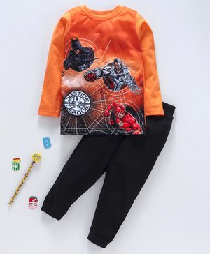 Eteenz Full Sleeves Tee And Lounge Pant Justice League Print - Orange Black