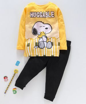 Eteenz Full Sleeves Tee And Lounge Pant Snoopy Print - Yellow Black