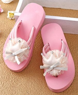 Oh! Pair Crown Motive Flip Flops - Pink