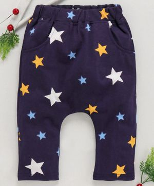 Mabaojd Full Length Diaper Leggings Star Print - Navy Blue