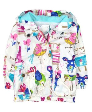 Kookie Kids Hooded Jacket Floral Print - White