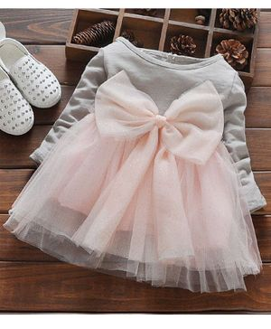 Kookie Kids Full Sleeves Frock Bow Applique - Grey