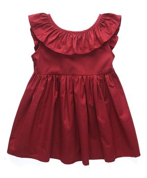 Kookie Kids Cap Sleeves Frock - Red
