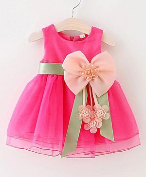 Kookie Kids Sleeveless Frock With Flower Corsage - Fuchsia