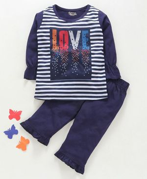 Eteenz Full Sleeves Striped Night Suit Love Print - Navy Blue