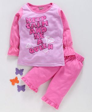 Eteenz Full Sleeves Striped Night Suit Text Print - Pink