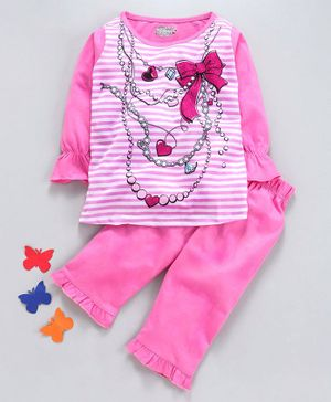 Eteenz Full Sleeves Top & Lounge Pants Set Graphic Print - Pink