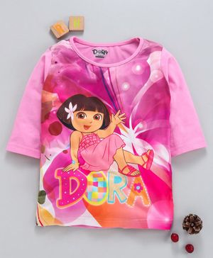 Eteenz Three Fourth Sleeves Top Dora Print - Pink