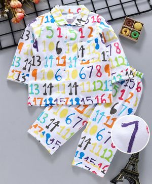 ToffyHouse Full Sleeves Night Suit Number Print - White