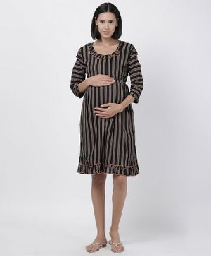 Goldstroms Striped Three Fourth Sleeves Frill Maternity Dress - Black