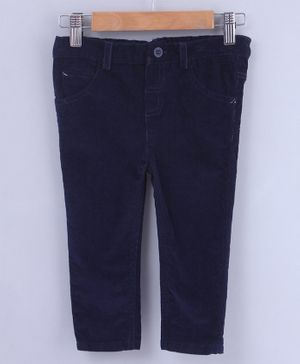 Beebay Solid Front Pocket Full Length Trouser - Navy Blue