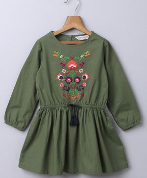 Beebay Floral Embroidered Full Sleeves Dress - Green