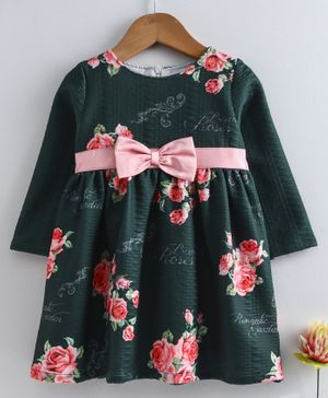 Yellow Duck Rose Flower Print Full Sleeves Dress - Green
