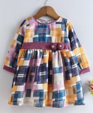 Yellow Duck Abstract Print Full Sleeves Dress - Purple