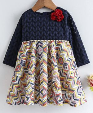 Yellow Duck Abstract Print Full Sleeves Dress - Navy Blue