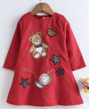 Yellow Duck Teddy Patch Full Sleeves Dress - Red