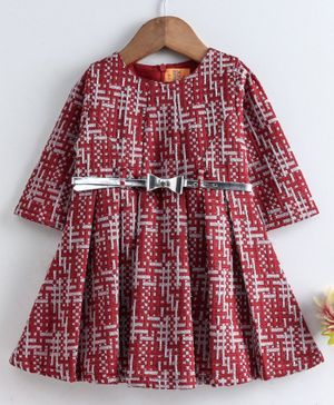 Yellow Duck Full Sleeves Self Design Dress - Red
