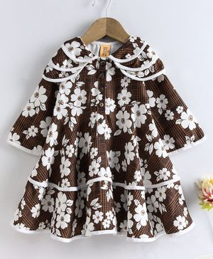 Yellow Duck Flower Print Full Sleeves Dress - Beige