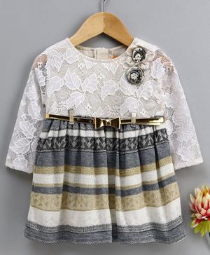 Yellow Duck Self Leaves Design Full Sleeves Dress - Grey
