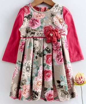 Yellow Duck Flower Print Full Sleeves Dress - Dark Pink