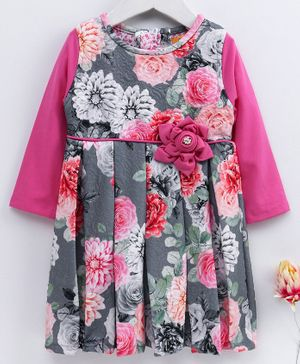 Yellow Duck Flower Print Full Sleeves Dress - Pink