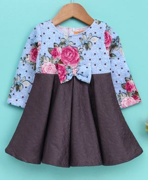 Yellow Duck Flower Print Full Sleeves Dress - Blue
