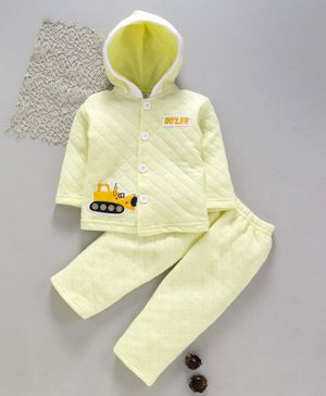 Tappintoes Winter Wear Full Sleeves Hooded Shirt And Bottoms Vehicle Patch - Yellow