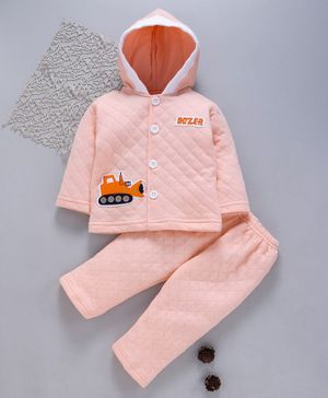 Tappintoes Full Sleeves Quilted Hooded Tee With Lounge Pant Construction Vehicle Patch - Peach