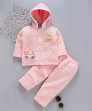 Tappintoes Full Sleeves Quilted Hooded Tee With Lounge Pant Tractor Patch - Peach