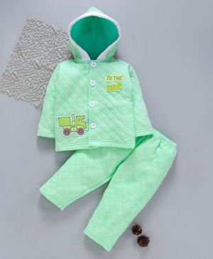 Tappintoes Full Sleeves Quilted Hooded Tee With Lounge Pant Tractor Patch - Green