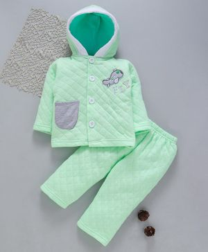 Tappintoes Full Sleeves Quilted Hooded Tee With Lounge Pant Aeroplane Patch - Green
