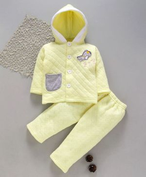 Tappintoes Full Sleeves Quilted Hooded Tee With Lounge Pant Aeroplane Patch - Yellow