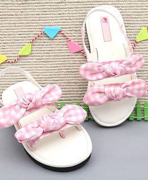 D'chica Checkered Double Bow Knot Sandals - Light Pink