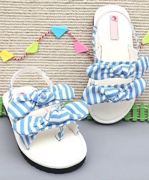 D'chica Checkered Double Bow Knot Sandals - Light Blue