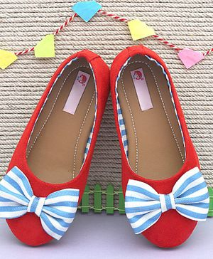 D'chica Striped Bow Detailed Ballerinas - Red