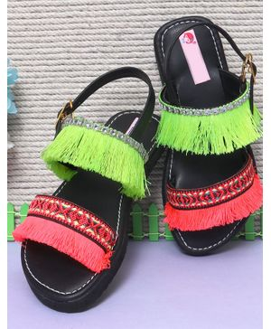D'chica Lace Tassel Detailed Buckle Closure Sandals - Black