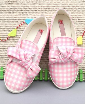 D'chica Checkered Bow Shoes - Light Pink
