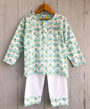 Frangipani Kids Star Print Full Sleeves Night Suit - Aqua Blue & White
