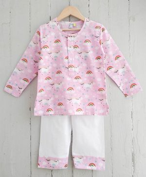 Frangipani Kids Rainbow Print Full Sleeves Night Suit - Pink & White