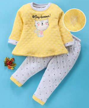 Little Darlings Full Sleeves Winter Wear Set Kitty Patch - Yellow