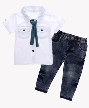 Kookie Kids Half Sleeves Shirt With Jeans & Tie - White