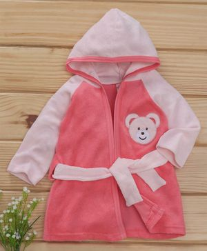 Pink Rabbit Full Sleeves Bath Robe Cartoon Patch - Pink