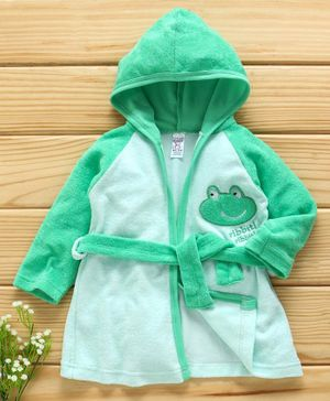 Pink Rabbit Full Sleeves Bath Robe Cartoon Patch - Green