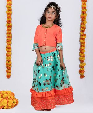 Pikaboo Three Fourth Ruffled Sleeves Choli With Gold Foil Leaves Printed Ghagra - Orange & Blue