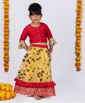 Pikaboo Three Fourth Ruffled Sleeves Choli With Gold Foil Leaves Printed Ghagra - Red & Yellow